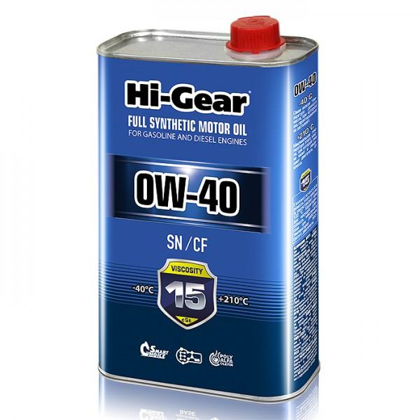 HG0040 Синтетическое моторное масло Hi-Gear 0W40 SN/CF, 1л