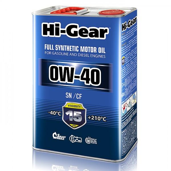 HG0044  Синтетическое моторное масло Hi-Gear 0W40 SN/CF, 4л
