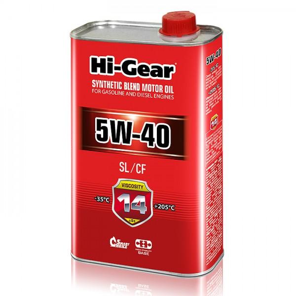 HG1140 Полусинтетическое моторное масло Hi-Gear 5W40 SL/CF, 1л