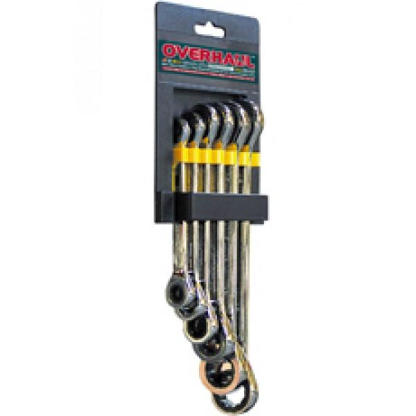 ОН4120 Ключи накидные двухсторонние, с трещоточным механизмом, полировальные. 6 шт.