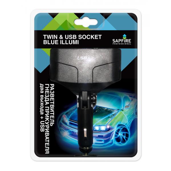 SCH-0431Разветвитель гнезда прикуривателя- 2 входа+USB
