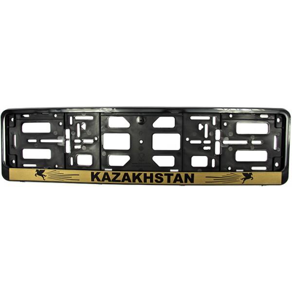 """РК010104(2,69) Подномерник Рамка-книжка цвет- ЧЕРНЫЙ надпись """"KAZAKHSTAN"""" на золоте."""