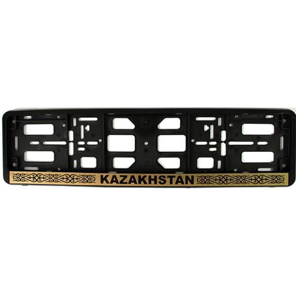 """РК010104(2,68) Подномерник Рамка-книжка цвет- ЧЕРНЫЙ надпись """"KAZAKHSTAN"""" с узором."""